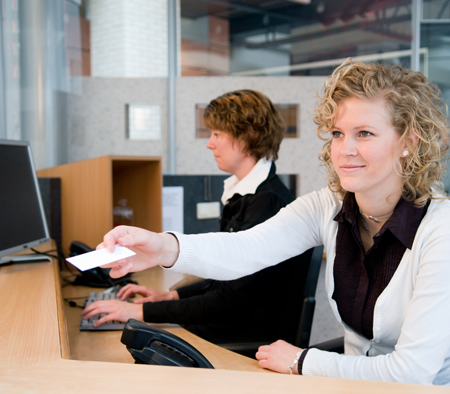 receptionist and the front desk