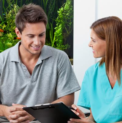 man having a dental consultation with kitchener-waterloo dentist